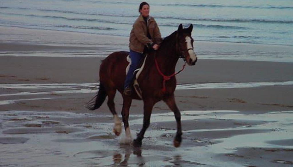 Girl riding a horse on the beach