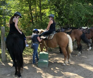 My girls getting settled on their horses!